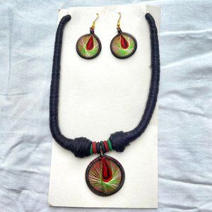 Black, Red and Yellow Threadwork Chain and Earring Set
